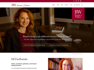 Website for Bonnie J. Wallace podcast author acting website logo branding