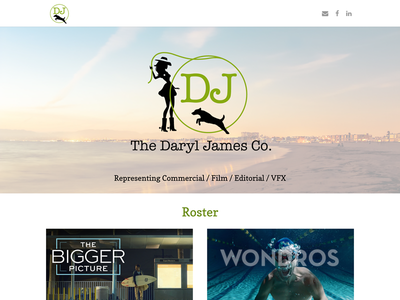 Website for The Daryl James Co. terrier logo cowgirl commercial branding website