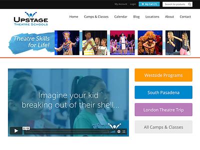 Website for UpstageSchools.com theatre theater school kids logo branding
