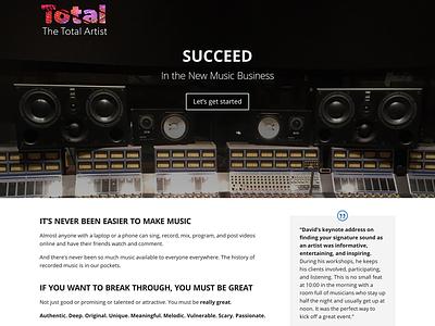 Website for The Total Artist website producer music industry musicians music branding logo