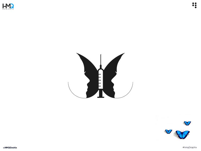 Minimal Modern logo butterfly Concept graphic design identity design brand branding design logo mark logo hmqgraphix branding attractive logo modern logo minimalist logo design logo business logo syringe butterfly logo butterfly