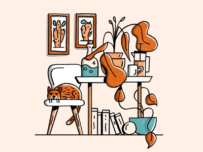 Home nature line art illustration procreate design home books table plants coffee cats cat