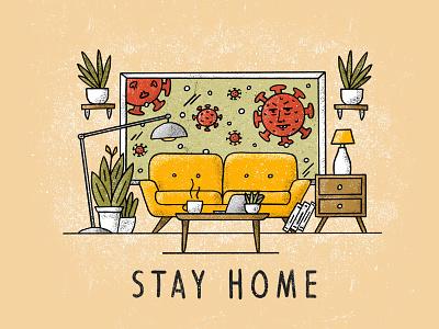 Stay Home virus germs covid covid19 plants illustration procreate living room stay home coronavirus