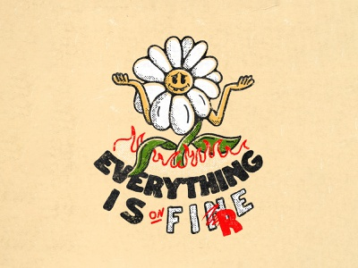 """Everything is """"fine"""" wildfire global warming fire nature design procreate illustration"""