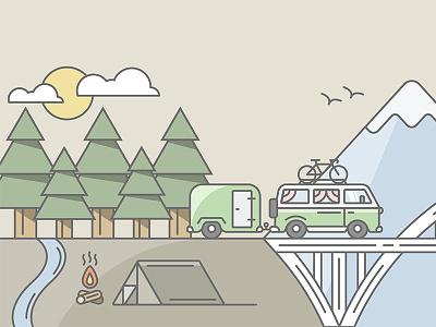 Shopify Tour Van shopify nature tour mountain bridge fire camping tent bus van