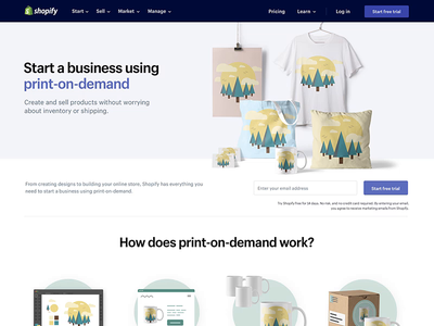 Shopify Print on Demand website design ux ui print on demand ecommerce online store
