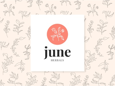 June Herbals WIP logo flowers illustration design natural nature brand identity branding