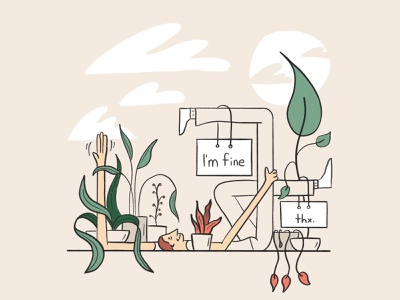 I'm fine, thanks! procreate illustration relax nature limbs portrait plants