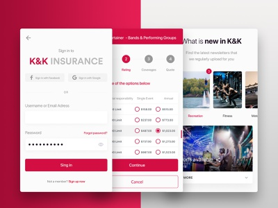 K&K Insurance - WebApp user interface sing up sin in radio buttom mobile app android app insurance payment app paymen ui logo insurance ux insurance ui insurance digital insurance insurance company insurance web insurance insurance app