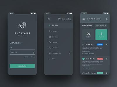 Cayetano app analytics money chart dark mode finance clean fintech wallet uiux dark ui dark