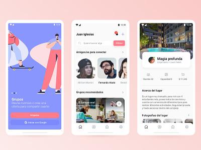 "Roomie Mobile App ""El escondite"" animation adventures hotels app reservas hotel ux design ui viaje world app travel app app roomie app"