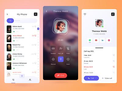 Call schedule mobile app 🐱💻 phone app phone chat app fun app videochat app video app ui design meeting app zoom app call app clean ui ux voice