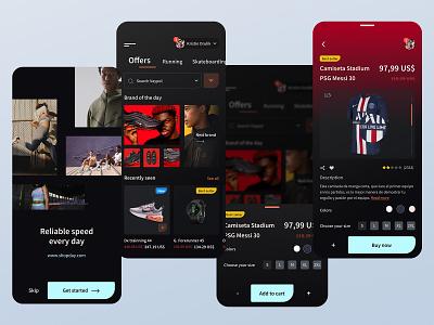 E-commerce shop app clothing app dark ui dark system dark adidas app sport app nike app ui ux clean art line e-commerce desktop app ecommerce app shop app