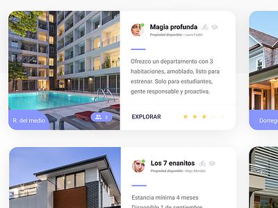 Creative card - App site web roomie app roomie research interfacedesign ui ux roomies roomie