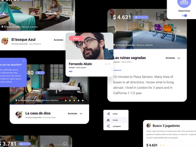 Crazy cards - Web app google product dashboad roomie android card app web material desing component desing ux ui ux ui card card