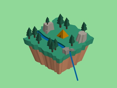 Isometric Floating 3d Island