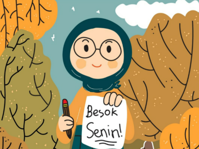 Senin color moeslem work cute illustration