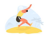 Long jump on the beach