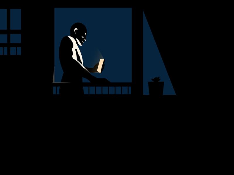 Lonely Call, Beware! minimal flat vector illustration alone life digitallife smartphone man
