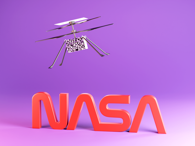 Mars Helicopter Ingenuity space nasa helicopter helicopter mars2020 nasa blender3d blender 3d