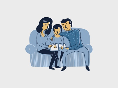 Stay Home love illustration coronavirus yellow blue winter book reading together couch stayhome cozy illustrator design family