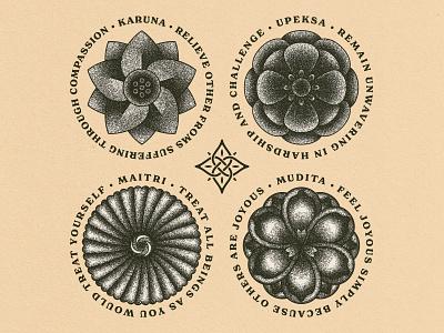 Brahmavihara lifestyle buddhism stippling flowers brahmavihara logo branding illustration