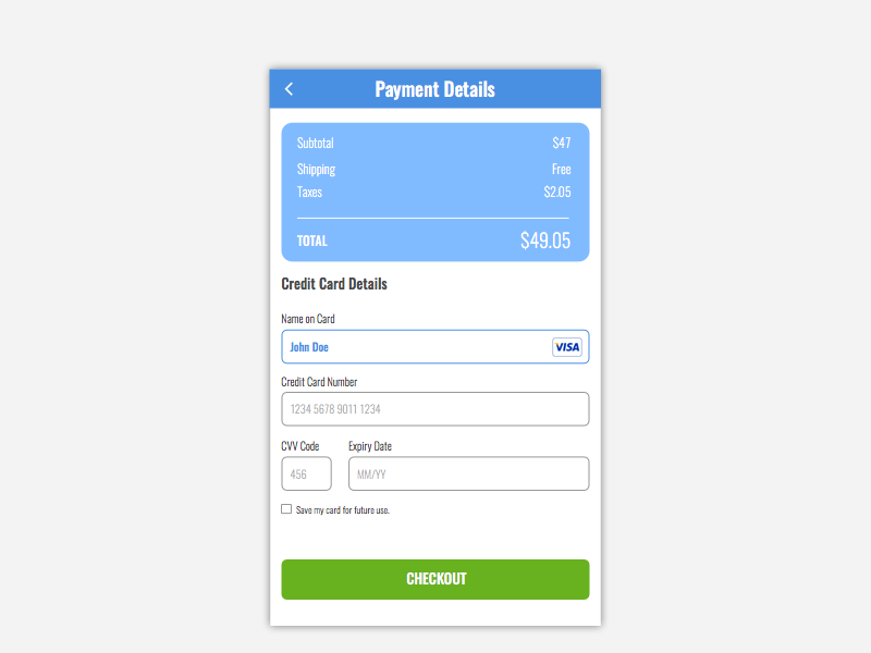 Daily UI Day #002 - Credit Card Checkout 002 credit card checkout sketch dailyui ux ui challenge mobile app