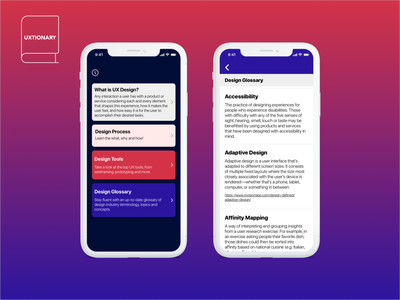 UXtionary - A Dictionary for UX and More...! ui mobile design react native ux mobile app design