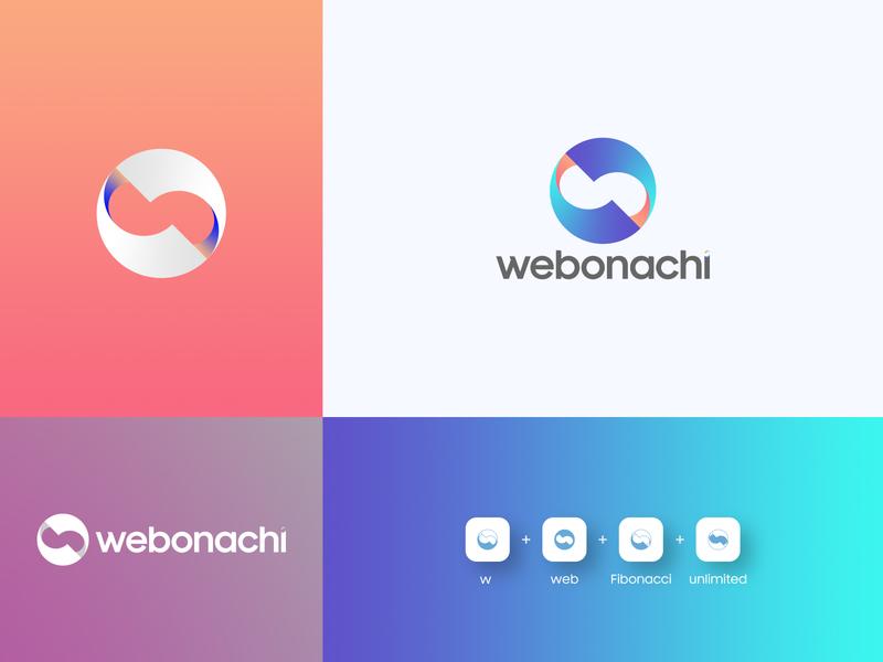 Webonachi Logo icon flat typography minimal illustrator branding logo