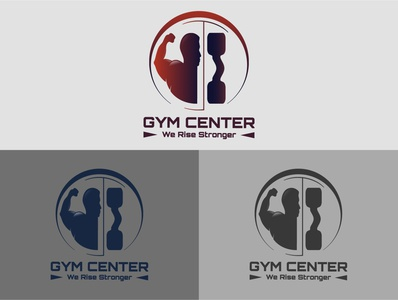 Gym fitness logo badge with muscle man, Gymnastic logo template