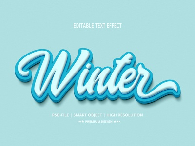 Winter 3D Editable Text Effects Style typo character clean design moder design creative minimalist concept effects text effects editable psd mockup alphabet text style text mockup design best branding typography mockup