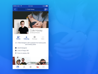 Facebook Profile Redesign uiux ux design ui design social facebook redesign ux ui iphone ios web design web
