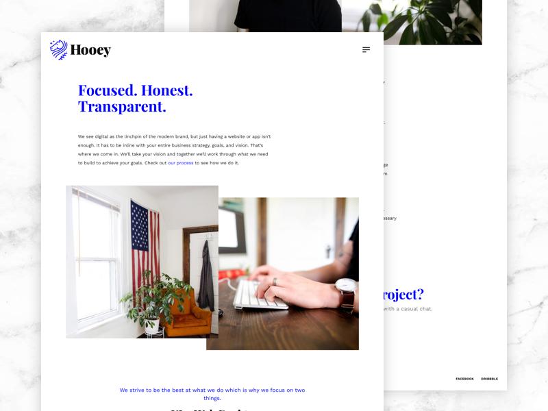 About Hooey typography ui design ui web design web site web studio agency portfolio about