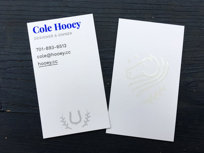Hooey Business Cards ui design ui cards uv foil agency web design web site web business cards