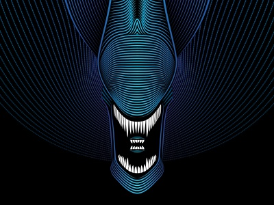 Aliens Tribute facehugger xenomorph lineart lines space adobe illustrator vector scifi illustration sci-fi