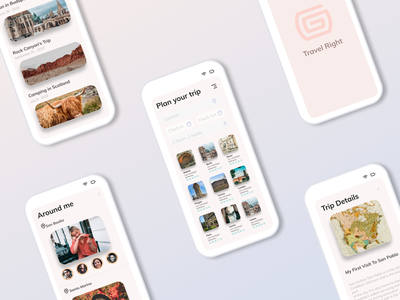 Travel Right blog travel hotel booking people app design figma