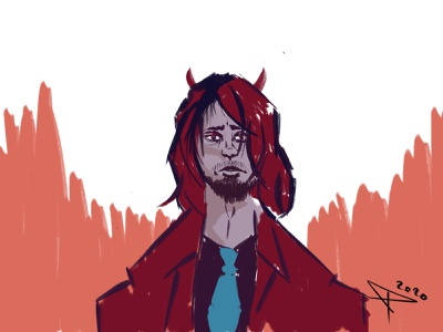 Bored Devil quick sketch quick bored devil sketch illustrator artwork character design blue red art digitalart illustration