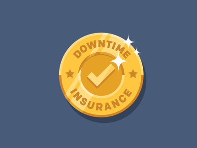 Downtime Insurance Seal vector icon achievement stars check shine gold coin seal insurance