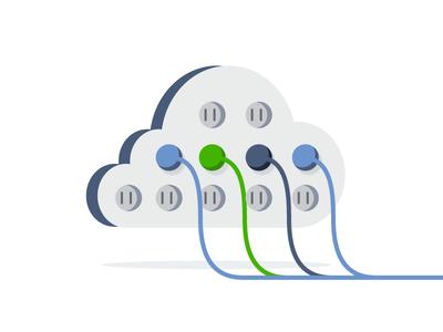 Plug In devops icon flat illustration integration cable wire internet plug cloud
