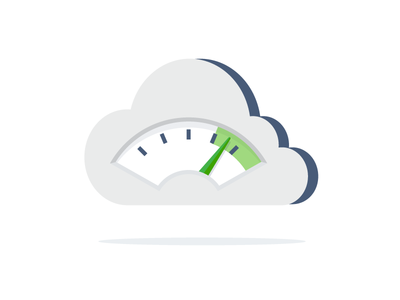 Cloud Performance devops icon flat illustration gauge tachometer internet performance cloud