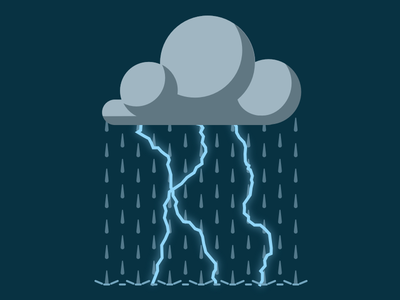 Dark Cloud Storm vector night weather icon flat rain lightning storm cloud