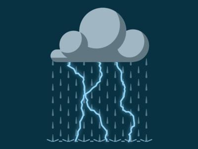 Dark Cloud Storm vector night weather icon flat rain lightning storm cloud