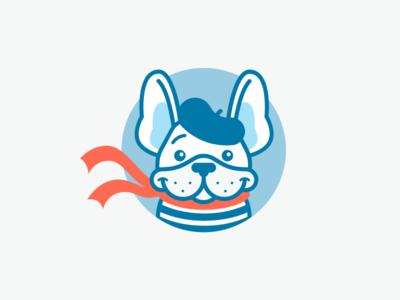 OUI Logo Mascot icon logo ui scarf dog bulldog french