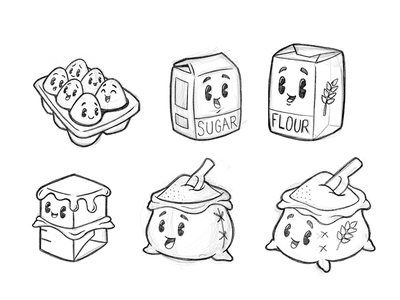 Baking Buddies baking sack pins retro character icon sketch eggs sugar flour butter ingredients