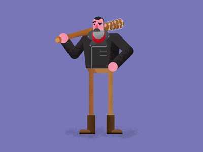 Negan the walking dead beard people bat negan illustration twd