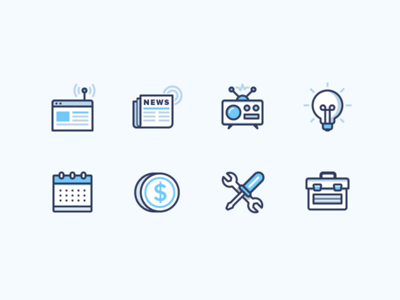 Newsletter Icons icons calendar coin toolbox tools radio light bulb blog news newsletter