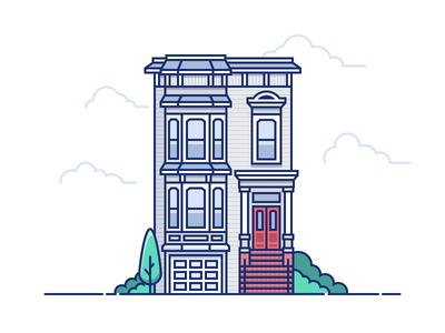 SF Victorian House bay windows san francisco illustration rowhouse victorian house sf