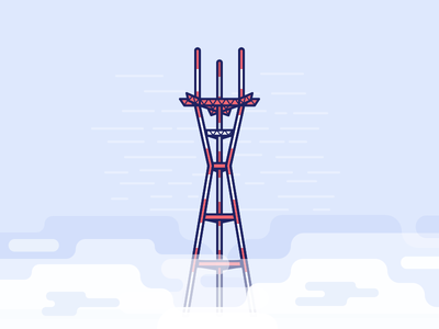 Sutro Tower and Karl the Fog karl the fog san francisco landmark sky illustration fog sf tower sutro