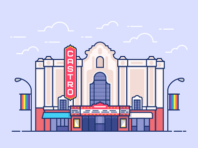 Castro Theater san francisco icon vector landmark illustration sf community neighborhood lgbtq gay theater castro