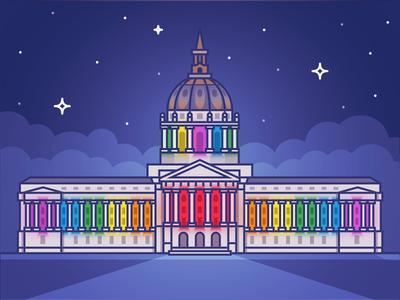 Civic Center City Hall Pride lgbtq city hall civic center gay neighborhood community sf illustration landmark vector icon san francisco